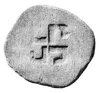 Ancient Greek coin depicting a swastika
