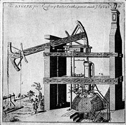 [An explanatory drawing of the Newcomen pumping engine, drawn in 1717